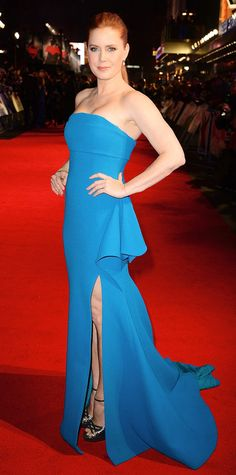 Amy Adams at the London premiere of Batman vs. Superman: Dawn of Justice in a bespoke turquoise strapless Antonio Berardi peplum gown that she accessorized with jewelry by Graziela Gems and Nigaam, and metallic Jimmy Choo platforms