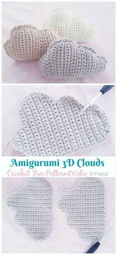 Amigurumi Cloud Keychain Crochet Free Pattern – Crochet & Knitting – Stricken is… Crochet Diy, Crochet Unique, Crochet Simple, Crochet Gratis, Crochet Motifs, Crochet Geek, Diy Crochet Projects, Crochet Afghans, Amigurumi Patterns