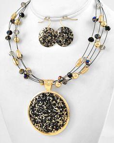 Gold Tone / Jet Ab & Black Diamond Glass Crystal / Gold Ccb (bead) / Lead Compliant / Multi Strand / Pendant Necklace & Fish Hook Earring Set