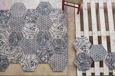 Use these stunning hexagonal shaped porcelain tiles together mixed up or with plain versions. #stunning #decorative #tiles