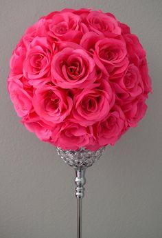 HOT PINK flower ball Wedding CENTERPIECE Premium by KimeeKouture