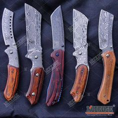5PC DAMASK HUNTING KNIFE SET 1PC FIXED BLADE CLEAVER + 4PC POCKET CLEAVER Cleaver Pocket Knife, Folding Pocket Knife, Folding Knives, Hunting Knife Set, Diy Wood Projects For Men, Damascus Steel Pocket Knife, Knife Template, Knife Tattoo, Pretty Knives