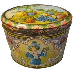 Lovely Vintage Art Nouveau European Candy Tin, Oval, FRUIT