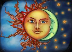 When the Sun and the Moon kiss. Just made it today, Sorry for being out of date, been busy and haven't done new stuff for a while. When the Sun and the Moon kiss Sun Moon Stars, Sun And Stars, Moon Sun Tattoo, Moon Painting, Witch Painting, Moon Symbols, Love Moon, Moon Images, Paper Moon