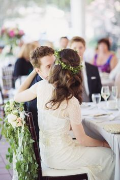 sides up + soft waves + greenery crown   Vancouver Wedding from Lucida Photography + Filosophi Events