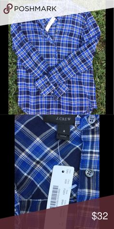J Crew long sleeve🌲lower price Blue and black plaid long sleeve shirt nwt J. Crew Tops Tees - Long Sleeve