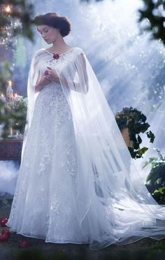Which Disney Princess Wedding Gown Should You Get Married In? - Mom Dress Casual - ideas of Mom Dress Casual - Snow White Wedding Dress from the Alfred Angelo Collection Snow White Wedding Dress, White Bridal, Tulle Wedding, Dream Wedding, Ivory Wedding, Wedding Dress With Shawl, White Dress, Wedding Cape Veil, Wedding Shawls