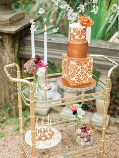 Romantic garden wedding dessert display on brass bar cart with a copper cake Gloria. Rentals and styling by Birch & Brass Vintage Rentals in Austin, TX. Photography by Anfinson. Wedding Cake Stands, Fall Wedding Cakes, Fall Wedding Decorations, Wedding Desserts, Garden Party Wedding, Mod Wedding, Dream Wedding, Wedding Reception, Fall Color Schemes