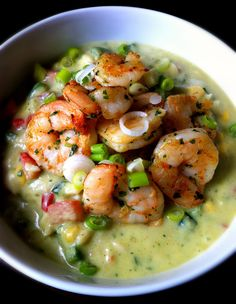Chilled Avocado Soup with sauteed or grilled shrimp on top ... I also envision crumbled goat cheese.