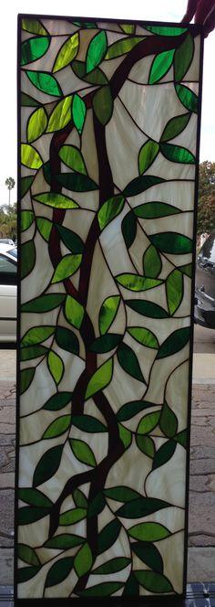 Magnolia Leaves Stained Glass Window Panel - StainedGlassWindows.com