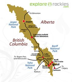 map of canadian rockies  Google Search  Canadian Rockies