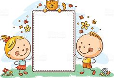Buy Cartoon Kids With a Frame With Copy Space by katya_dav on GraphicRiver. Kids with a frame with copy space Cute Picture Frames, Cute Frames, Cartoon Kids, Cute Cartoon, Kids Background, Background Banner, Sticky Labels, Background Powerpoint, Borders And Frames