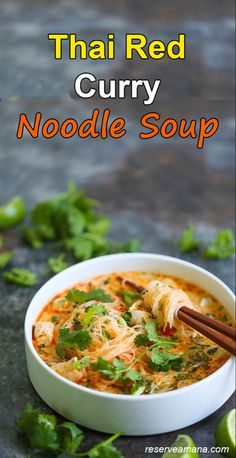 These Thai Red Curry Noodle Soup are totally slurp-worthy! This soup is packed with so much flavor with bites of tender chicken, rice noodles, basil, cilantro and lime juice. It's easy enough for any night of the week! Healthy Soup Recipes, Curry Recipes, Asian Recipes, Vegetarian Recipes, Cooking Recipes, Ethnic Recipes, Asian Desserts, Asian Foods, Healthy Food