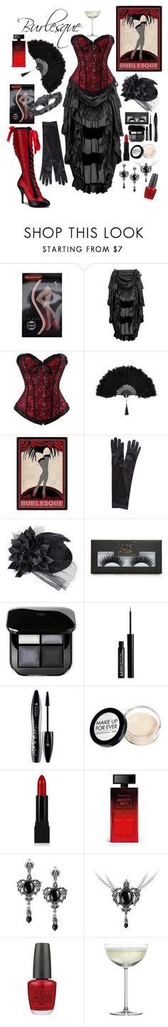 """Dark Burlesque..."" by lexisamskywalker on Polyvore featuring John Lewis, Boohoo, NYX, Lancôme, MAKE UP FOR EVER, Forever 21, Elizabeth Arden, OPI and Crate and Barrel"