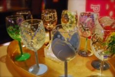 Wine Glass Painting Class, with glasses designed by participants