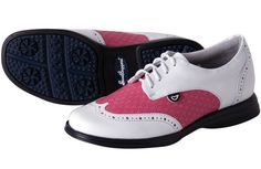 Find stylish golf shoes in : Fuchsia (Hot Pink & White) Sandbaggers Charlie Ladies Golf Shoes Best Golf Shoes, White Golf Shoes, Womens Golf Shoes, Pink Shoes, Ladies Shoes, Golf Outfit, Golf Attire, Golfer, Golf Training
