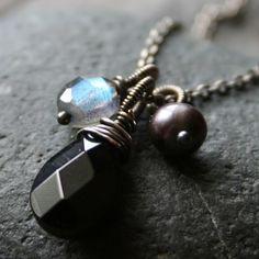 Black Onyx, Labradorite, Pearl