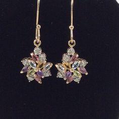💖🎉PoshFest 2015 HP💖🎉Beautiful Jeweled Earrings NWOT Gorgeous earrings, never worn. Gold tone setting. Make an offer!!! Macy's Jewelry Earrings