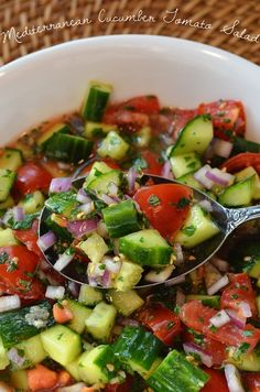Mediterranean Cucumber Tomato Salad | Kikiverde Handmade Inspired by coarsely chopped fresh vegetable salad served as a mezze dish at my favorite Mediterranean restaurants.