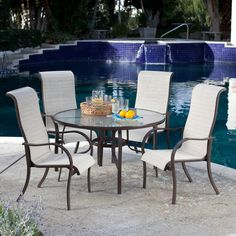 Coral Coast Del Rey Deluxe Padded Sling Patio Dining Set - Seats 4 - Patio Dining Sets at Hayneedle