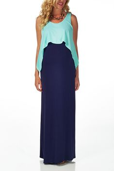 maternity maxi | Maternity Clearance / Mint Green Navy Overlay Maternity Maxi Dress