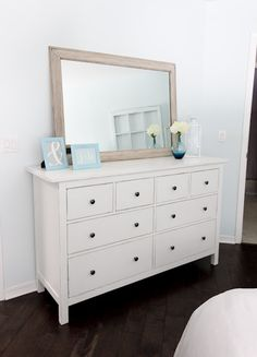 Ikea Hemnes dresser--paint knobs metallic color? Idea: clear mat for makeup area so desk stays clean http://m.ikea.com/us/en/catalog/products/art/10239280/ More