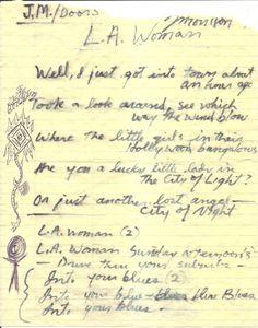 The Doors. Jim's handwritten lyrics for L.A. Woman.