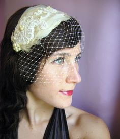 Birdcage Veil Headband with Feathers and Lace  Dora by pishposhes, $139.00