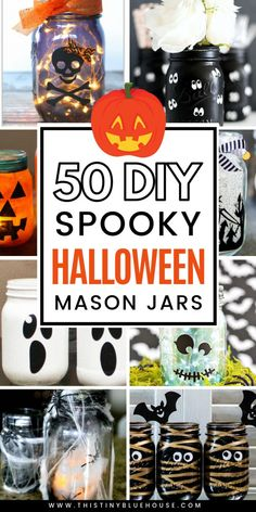 Here are over 50 spooky DIY Halloween Mason Jars that are a perfect way to decorate your home in anticipation of Halloween. From pumpkin mason jars to spooky villages these crafts are a great way to get excited about Halloween. Halloween Cupcakes, Halloween Mason Jars, Fall Mason Jars, Halloween Lanterns, Diy Halloween Decorations, Mason Jar Diy, Thanksgiving Diy, Halloween Crafts For Kids, Easy Halloween