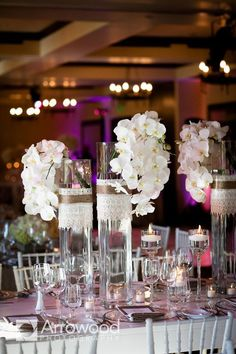 Fantastic #flower #centerpieces at this #purple #uplighting #wedding #reception ! #diy #unique #weddingideas #weddinginspiration #ideas #inspiration #rentmywedding #celebration #party By #ArrowoodPhotography