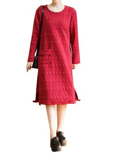 Sale 20% (30.19$) - Vintage Solid Color Dots O-Neck Long Sleeve Loose Women Dress