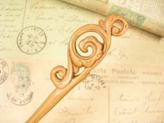 Exquisite Handmade Wooden Hair Stick Peach Wood by epstone on Etsy, $12.00