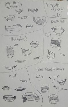 A mouth study from some manga laying around my room cuz I can't draw mouths for shit Anime Drawings Sketches, Pencil Art Drawings, Indie Drawings, Anime Sketch, Art Reference Poses, Drawing Reference, Drawing Techniques, Drawing Tips, Drawing Face Expressions
