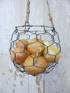hand-made wire basket = annealed steel wire + heavy jute