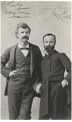Writers Mark Twain (left) and George Washington Cable, Twins of Genius tour 1884-1885