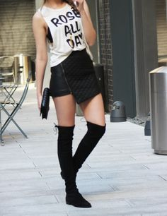 Rose All Day tee, leather skirt, and stuart weitzman lowland boots