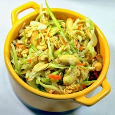 Ramon Noodle Asian Salad It is FAST to put together. Total kitchen hands on time, about 15 minutes. It is EASY to put together. This is a matter of opening a few bags. It TRAVELS WELL and actually TASTE BEST WHEN MADE IN ADVANCE. Which leads to … Delicious! Hints of Asia, lots of greens …