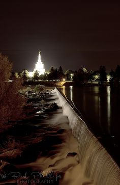 Idaho Falls LDS Temple at night. I stayed in a hotel with the view of this Snake River, Idaho Falls, Idaho. Temple across the river.  (This is one of my favorite places on earth!  ~L) (Check!)