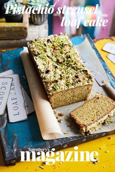 A streusel cake has a crumbly, crunchy topping strewn across the batter before baking, adding sweetness, richness and texture. This pistachio streusel loaf cake recipe is delicious served as a dessert, with crème fraîche and raspberries Eid Dessert Recipes, No Bake Desserts, Cake Recipes, Dessert Ideas, Bread Recipes, Yummy Recipes, Pastry Recipes, Baking Recipes, Streusel Cake