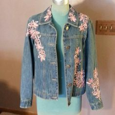 "Denim Jacket Cotton denim jacket with pink floral design around it has button up front is lined 24""long Coldwater Creek Jackets & Coats Jean Jackets"