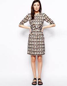 Peter Jensen Diana Ross print Dress with Knot Front knee length