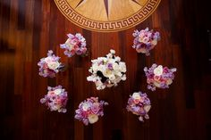 Bridesmaids and Bride Bouquet circle I Nature of Design with Janet Flowers I Photos by DavidM http://cinematicbydavidm.zenfolio.com/ #wedding #floral #flowers #arrangement #purple #white