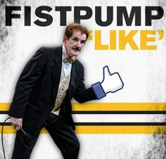 Rene Loves to sing and Fist Pump at special events. Have him sing at yours ! Call Curtis at Hockey Playoffs, Boston Bruins Hockey, Nhl, Dont Poke The Bear, Hanson Brothers, Bobby Orr, Hockey Quotes, Fist Pump