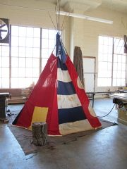 Amazing Tee pee made from semaphore flags. Caitlin Wylde.