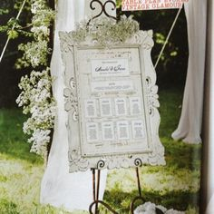 Vintage shabby chic seating plan
