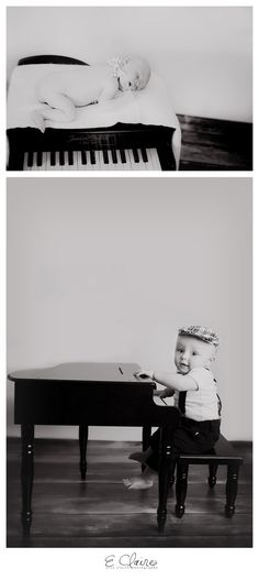 Baby with piano 6 Month photos Evie Claire Photography l Baltimore, MD Newborn photographer Maternity photographer