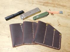 Handmade Custom Cajun Leather Works Oil Dyed Brown Cajun Pocket Protector Leather Case For EDC Knife Flashlight Personalized Made In USA by CajunLeatherWorks on Etsy