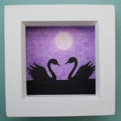 #Swan #Art #Picture, #Framed Swans #Moon #Drawing, #Purple Swan #Gift, #Romantic Moon Art £18.00