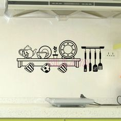 Aliexpress.com : Buy Stickers Cuisine Shelf Vinyl Wall Decals Wallpaper for Kitchen Mural Wall Sticker Wall Art Home Decor House Decoration Posters from Reliable wallpaper mural suppliers on Kililaya