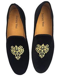 Men's Vintage Velvet Loafer Men Embroidery Noble Men Shoes Slip-on Loafer Smoking Slipper Black/blue Us 6-13 (US 13, Black Vine)